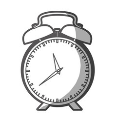 Grayscale silhouette of alarm clock vector