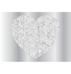 Grey silver sparkling polygonal heart design vector