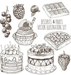 Hand Drawn Dessert Set vector image vector image