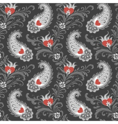 Hearts and paisley pattern vector image
