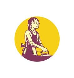 Housewife ironing circle woodcut vector