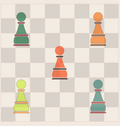 In flat style chess pawn set vector