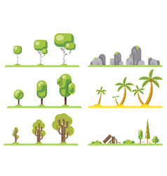 isolated tree icons set forest nature landscape vector image