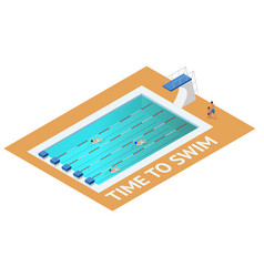 Isometric people diving into water in to the vector