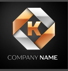 letter k logo symbol in the colorful rhombus on vector image