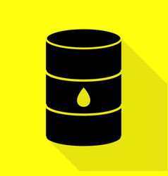 Oil barrel sign black icon with flat style shadow vector