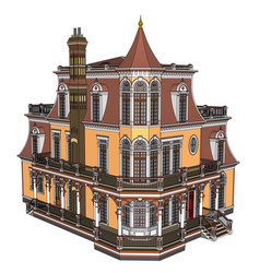Old house in victorian style on vector