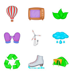 Projections icons set cartoon style vector
