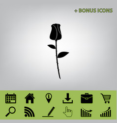 Rose sign black icon at gray vector