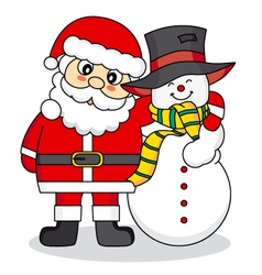 Santa Claus and snowman friends vector image vector image