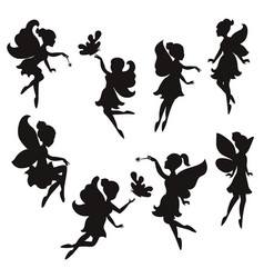 Set of silhouettes of fairies set of silhouettes vector