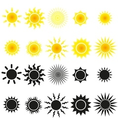 Set of sun in yellow and black vector