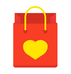 shopping bag with heart flat icon valentines day vector image