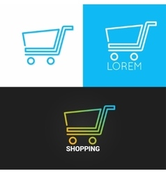 Shopping cart logo set background business market vector