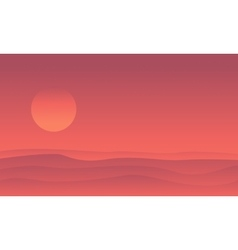 Silhouette of desert and sun landscape vector