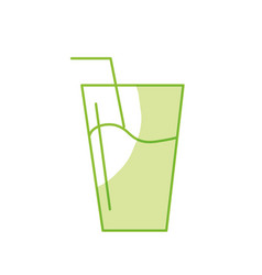 Silhouette water glass to freshness and vector