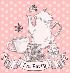 Vintage sweets and tea - tea party banner vector