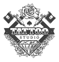 Vintage tattoo salon logotype template vector