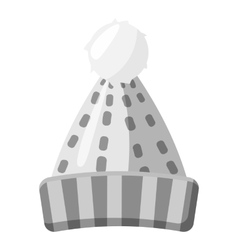 Winter knitted hat icon gray monochrome style vector