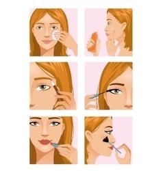Young girl during makeup ritual vector