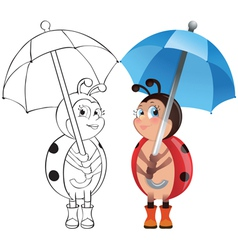 Ladybug with umbrella vector