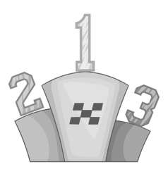Prize pedestal icon black monochrome style vector