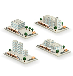 Buildings with urban transport vector