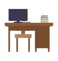 Rear view desk with computer and chair vector