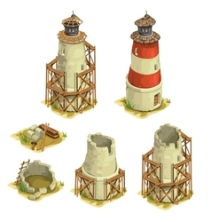Stages of construction brick lighthouse vector