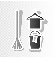 Broom bucket and hanger sign  new year vector