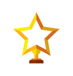 trophy star in yellow success winner award vector image