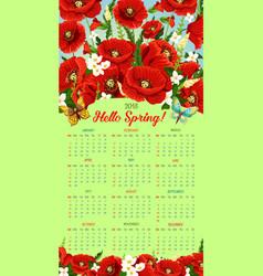 Calendar 2018 of spring poppy flowers vector