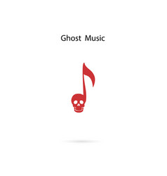 Musical note sign and human skull icon logo vector