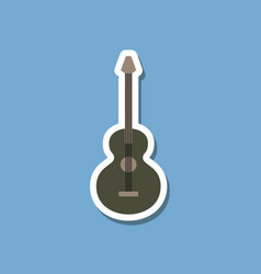 Paper sticker on stylish background guitar vector