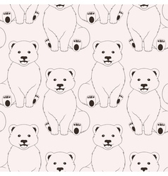 Bears pink seamless pattern on neutral background vector