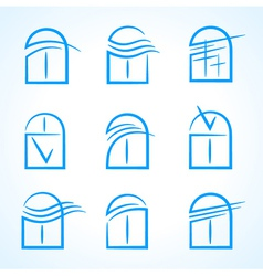 Windows set emblem symbol element icons vector