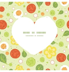 Fresh salad heart silhouette pattern frame vector