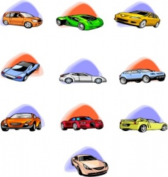 Ten passenger cars vector
