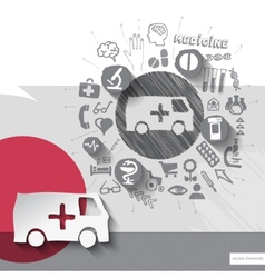 Hand drawn ambulance car icons with icons vector image