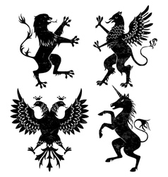 Heraldic lion griffin eagle and unicorn vector
