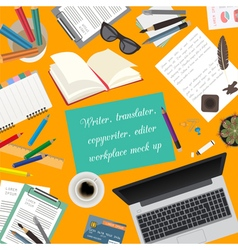 Workspace of the writer translator copywriter vector