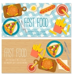 Flat design banner with fast food vector