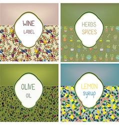 Food labels set design with patterns - vector