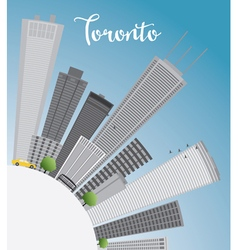 Toronto skyline with grey buildings blue sky vector