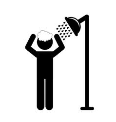 Man taking shower vector