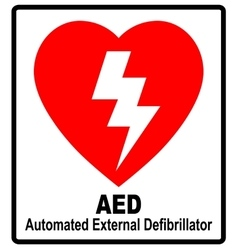 A red aed sticker with heart shape and vector
