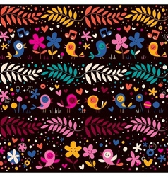 Birds and flowers pattern 2 vector