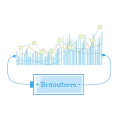 Brainstorm word charging battery power with grow vector image