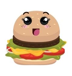 Burger fast food kawaii style vector