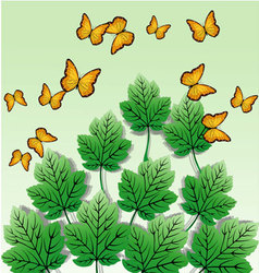 Butterfly leaves background vector